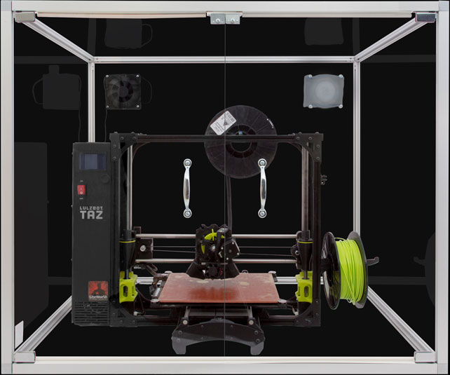 3D Printer Enclosure with Lulzbot Printer